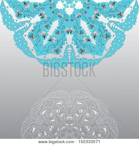 Abstract background on the theme of bells and bugs. Gray scale and blue.