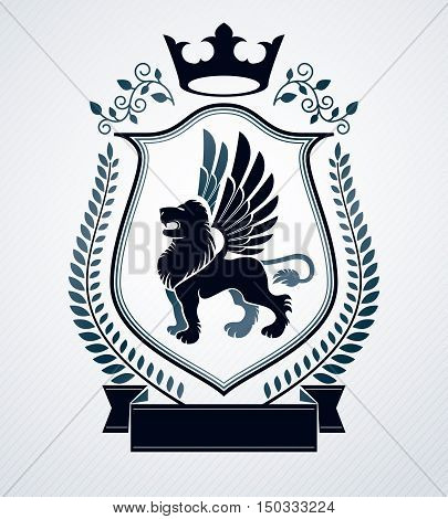 Vector heraldic emblem with pegasus illustration made with decorative art elements like laurel leaf