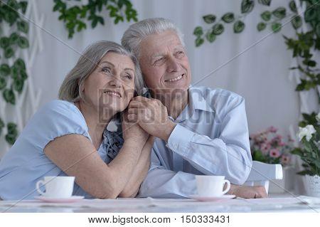 happy Senior couple drinking tea  and reading magazine