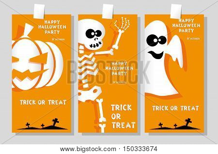 Set of funny holiday banner: title Happy Halloween party Trick or Treat and skeleton pumpkin ghost. Concept design cards flyers posters. Vector illustration in flat or kids paper applique style