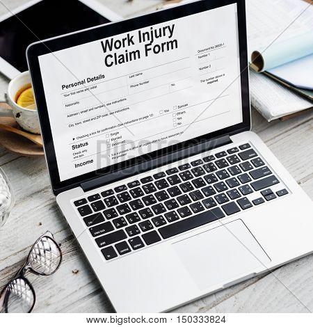 Work Injury Compensation Claim Form Concept