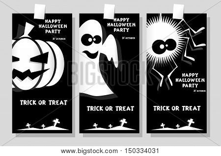 Set of funny holiday banner: title Happy Halloween party Trick or Treat and ghost pumpkin spider. Concept for design cards flyers posters. Vector illustration in flat or kids paper applique style