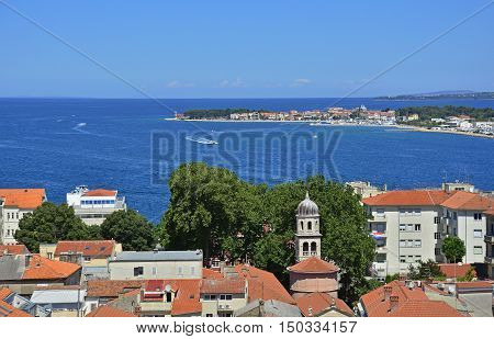 The historic coastal Croatian city of Zadar viewed from the top of St Anastasia's Cathedral.