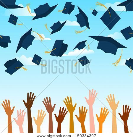 Cosmopolite. Hands up of different races, nationalities and color hands throwing blue graduation caps in the air. African, american, european, asian, indian hands graduation caps fly to air.
