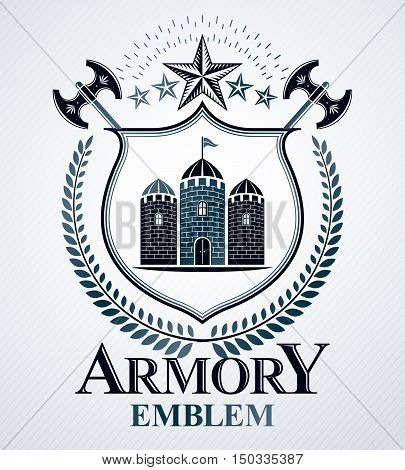 Vector heraldic armory emblem made with decorative art elements like stars