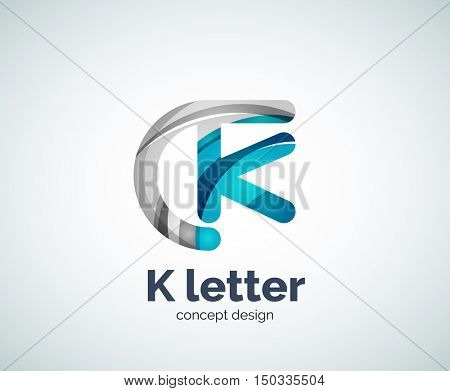 k letter logo, abstract geometric logotype template, created with overlapping elements