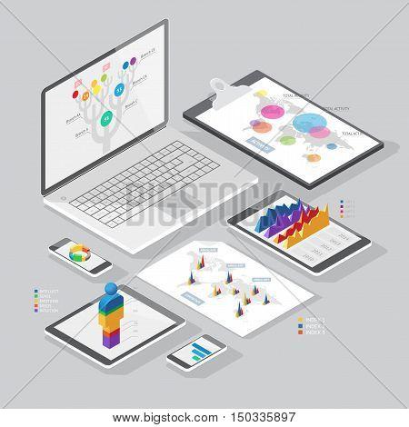 Isometric Infographics Design Elements