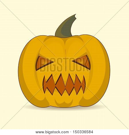 Halloween pumpkin vector object. Illustration of Halloween pumpkin with sharp teeth. on a light background