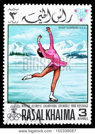 RAS AL KHAIMA - CIRCA 1968 : Cancelled postage stamp printed by Ras Al Khaima, that shows  Peggy Flemming.