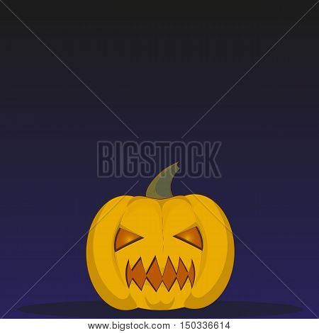 Halloween little pumpkin vector object. Illustration of Halloween pumpkin with sharp teeth. on a light background