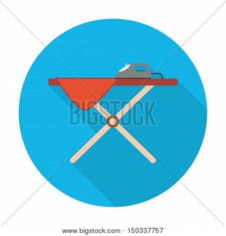 ironing board flat icon with long shadow for web design
