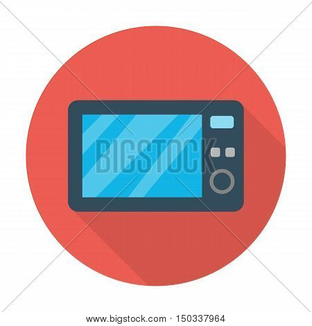 microwave flat icon with long shadow for web design