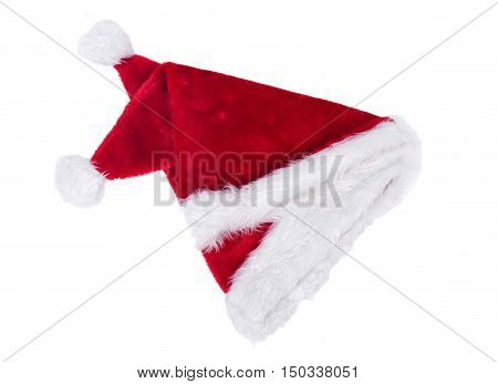 Santa Claus fury hat separated on white background