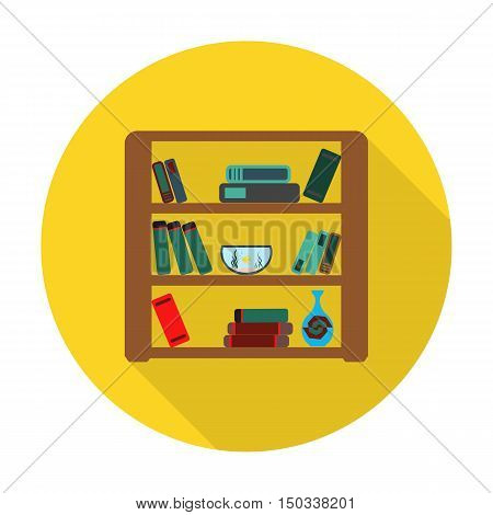 bookshelf flat icon with long shadow for web design
