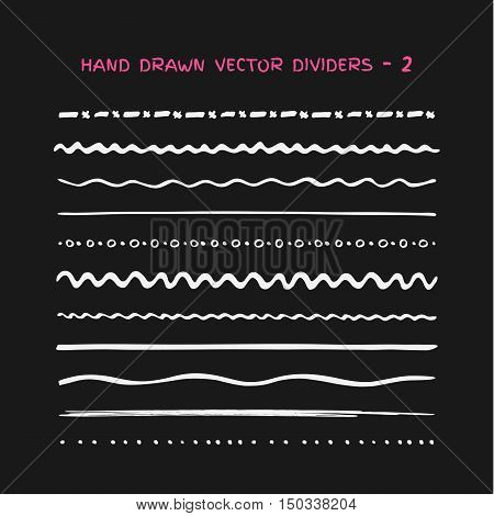 Big set of horizontal vector chalk drawn lines in style grunge on blackboard. Doodle dividers foe web sites and infographic. Doodle chalk brushes