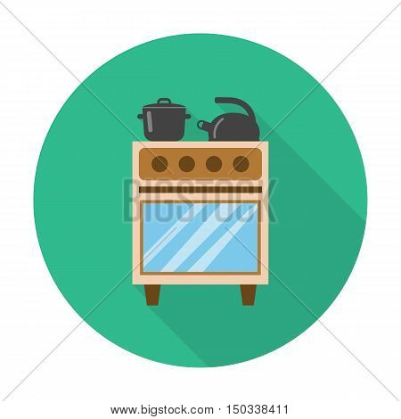 gas stove, kettle flat icon with long shadow for web design