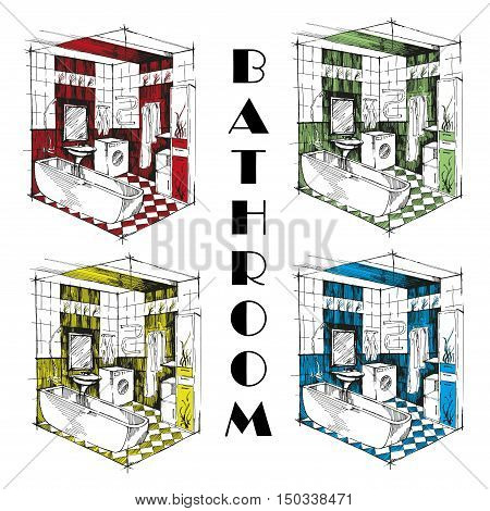 Isometric bathroom with washing machine sink mirror bathroom and furniture