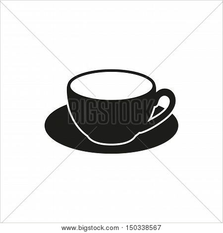 cup and saucer icon Created For Mobile Web Decor Print Products Applications. Black icon isolated on white background