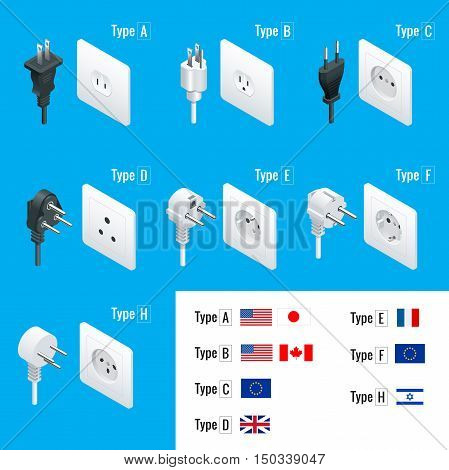 Electrical Plug Types. Type A, Type B, Type C, Type D, Type E, Type F, Type H. Isometric Switches and sockets set. AC power sockets realistic vector illustration.