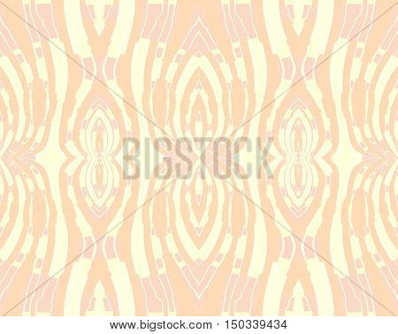 Abstract geometric seamless background. Regular symmetric ornaments in peach color and pink on pastel yellow, delicate and ornate.