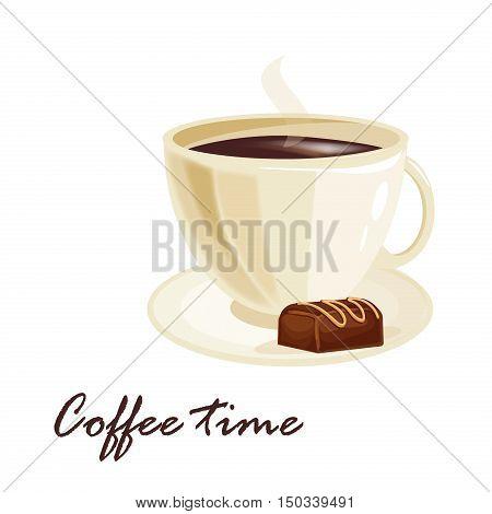 Coffee time design morning element banner shop vector illustration. Vector espresso vintage design coffee time mug retro art symbol. Breakfast caffeine concept coffee time drink time cafe.
