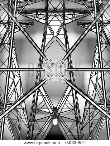 Electricity pylons. Technical background on power. 3D illustration