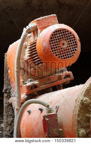 Boiler room electric motor detail machine part.