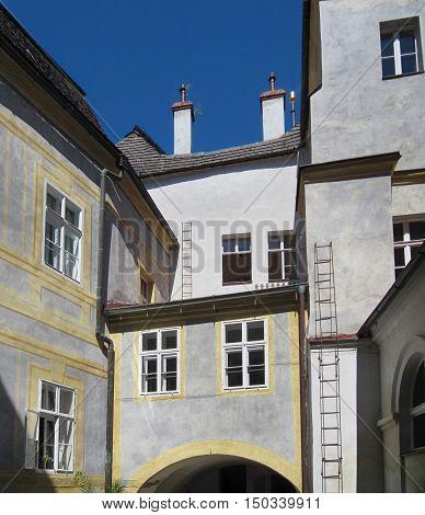 Javornik Town Czech republic - August 20 2011: Back of the Jansky Hill (Jansky Vrch) Castle in Javornik Town Olomouc Region
