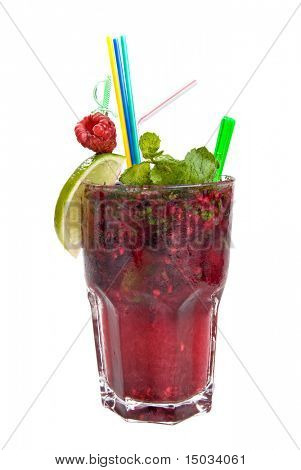 Energy mohito with mint, lime and raspberry isolated on white