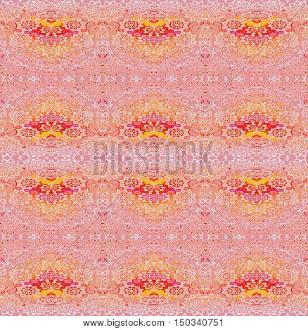 Abstract geometric seamless background. Regular floral ornaments in white, yellow, orange and red on pink, ornate and dreamy.