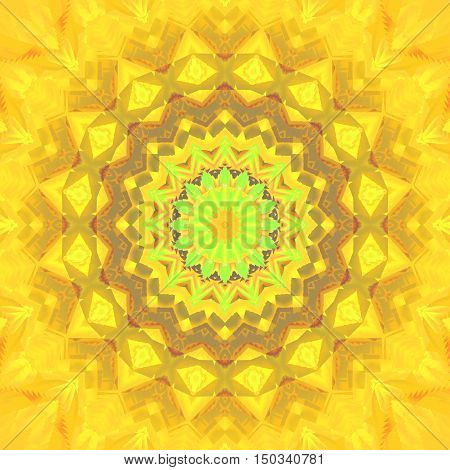 Abstract geometric seamless background. Regular ornate star ornament bright yellow with orange and white elements,centered and blurred.