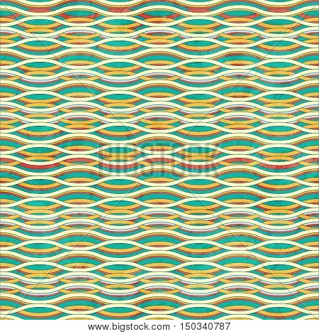 Seamless Grunge Striped Waved Colored Green Background
