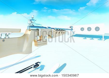 Idea of biathlon against the background of winter day. 3D illustration