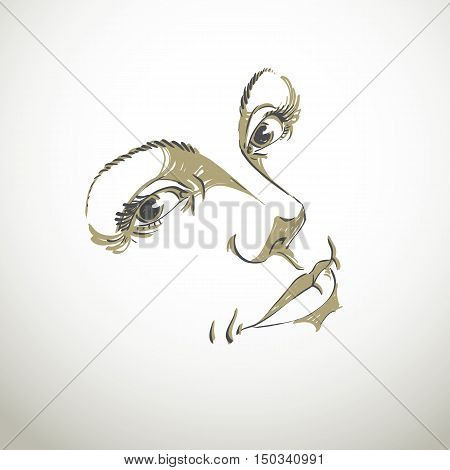 Monochrome hand-drawn silhouette of woman face delicate features. Face expression on lady face vector illustration.