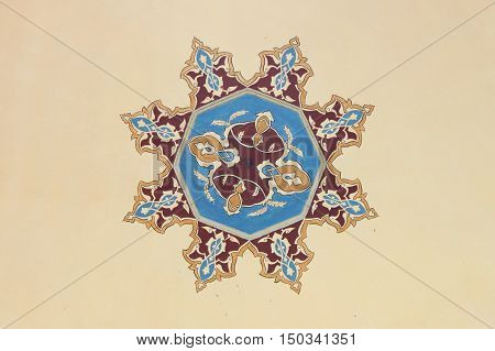 Ceiling decoration in a Mosque of Istanbul, Turkey