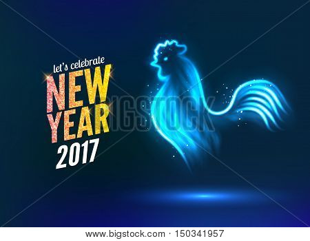 The rooster new year greeting card design template. 2017 new year calendar symbol cock or rooster, glowing neon light on dark.