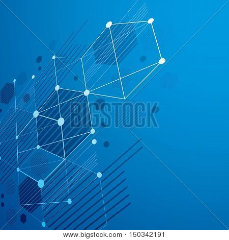 3d vector Bauhaus abstract blue background made with grid and overlapping simple geometric elements hexagons and lines.