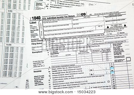Tax Time - Closeup Of U.s. 1040 Tax Return
