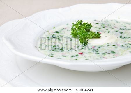cold soup with chopped vegetables and meat on the plate