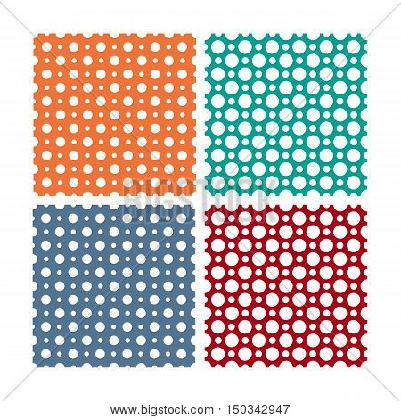 Vector seamless patterns or textures set with white polka dots on white background. Seamless polka dots for web design, blog and desktop wallpaper or scrapbooking. White circles pattern