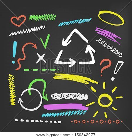 Colorful chalk elements collection on blackboard. Set of hand drawn marker elements for text selection and underline - strokes, arrows and other shapes