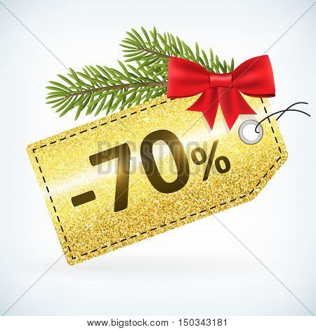 Christmas golden glitter price -70 percent sale vector delivery with bow nd twig .Isolated from background. layered.