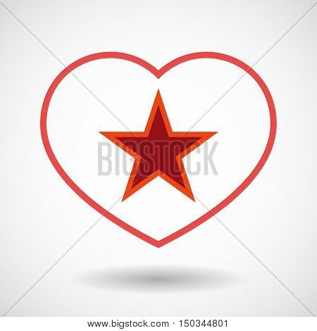 Isolated Line Art Red Heart With  The Red Star Of Communism Icon