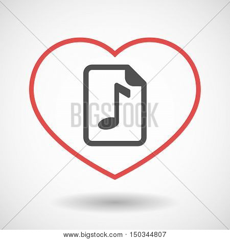 Isolated Line Art Red Heart With  A Music Score Icon