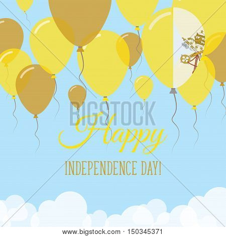 Holy See (vatican City State) Independence Day Flat Greeting Card. Flying Rubber Balloons In Colors