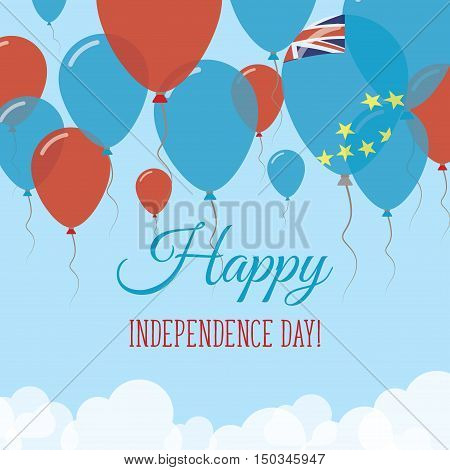 Tuvalu Independence Day Flat Greeting Card. Flying Rubber Balloons In Colors Of The Tuvaluan Flag. H