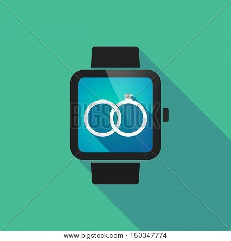 Long Shadow Smart Watch With  Two Bonded Wedding Rings