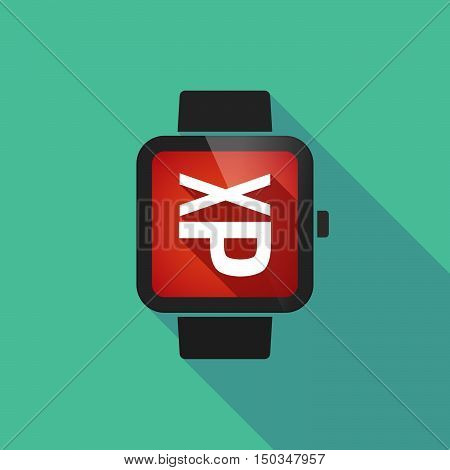 Long Shadow Smart Watch With  A Tongue Sticking Text Face Emoticon