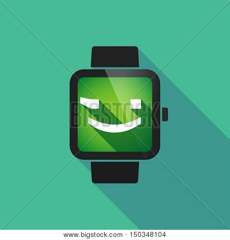 Long Shadow Smart Watch With  A Wink Text Face Emoticon