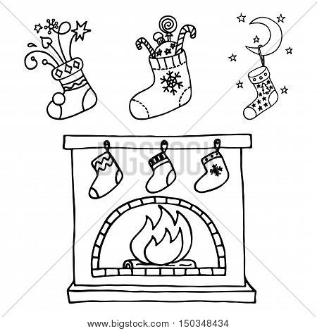 Fireplace and Christmas stockings set. Vector illustration